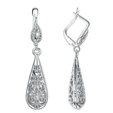 White Gold Plated Filigree Water Drop Leverback Dangle Earrings Jewelry Gift LH