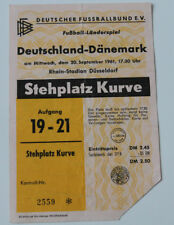 Ticket for collectors * Germany - Denmark 1961 in Dusseldorf