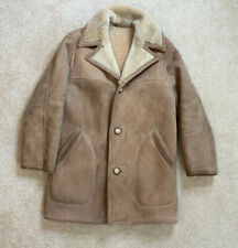ABERCROMBIE & FITCH Mens Vintage Shearling Sheepskin Leather Coat Jacket Sz 38
