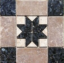 "12 1/16"" x 12 1/16"" Stone Medallion - Blue Pearl granite & tumbled stone"