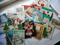 Lot 29 Vintage 50's Christmas Used Greeting Cards Holiday Ephemera Scrapbook #2