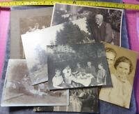 7 Vintage BW Photographs WEALTHY FAMILIES Social History Victorian Dinner Picnic