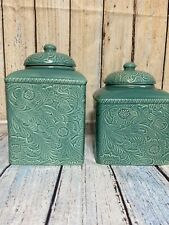 New listing Hi End Accents Savannah Turquoise Two Canisters