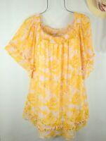 New Women's Summer Yellow Ruffle Boho Peasant Top Blouse Tunic 2X NWT