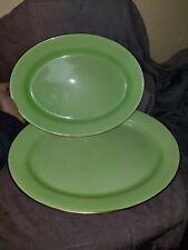 """Royal Winton Grimwades Green Rosebud Serving Tray Platter Set of 2 12.5"""" & 15"""""""