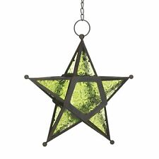 8  Black Iron with Green Pressed Glass Five Point Hanging Star Candle Lantern