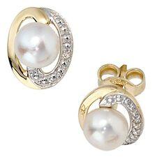 Ohrstecker 2 Diamanten Brillanten 2 Süßwasser Perlen 585 Gelbgold Ohrringe 30573