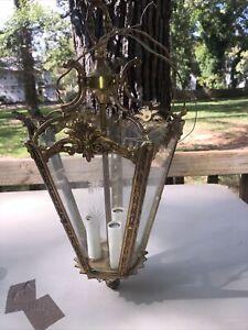 Antique Vintage Hanging Ceiling Glass Brass Hallway Entrance Light