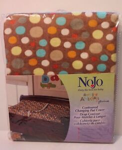 NoJo Amazing Animals Baby Contoured Changing Pad Cover Polka Dots Brown NEW