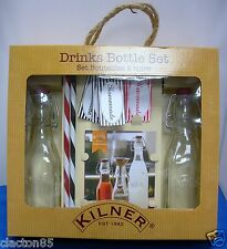 KILNER VINTAGE RETRO DRINKS COCKTAIL MAKING SET 0.25L CLIP TOP BOTTLES RECIPE