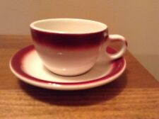 4 sets of Mid Century Buffalo China cranberry maroon airbrush rim cup & saucers