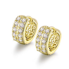 HUCHE 14K Yellow Gold Filled Flock Hollow Back Diamond Crystal Lady Hoop Earring