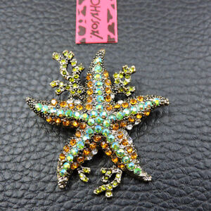 New Multi-Color Crystal Cute Coral Starfish Betsey Johnson Charm Brooch Pin