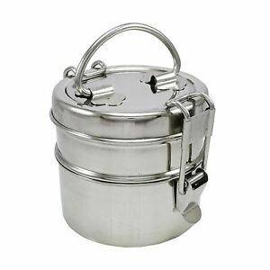 Stainless Steel 2 Tier Lunch Box Carrier Set Indian Tiffin Round Food Container
