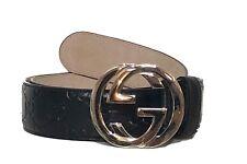Gucci Gg Monograma Gucci Ssima Entrelazado Unisex Negro Cinturón de Cuero 105/42