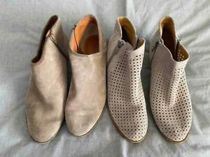 2 PAIRS LUCKY BRAND SUEDE ANKLE BOOTS BOOTIES 8.5/9