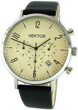 HEKTOR design Chronograph creme schwarz Datum Edelstahl Leder Bauhaus Stil 42mm