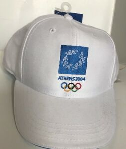 Olympics Mens O Cap 2004 Athens Greece Cotton High Hat Vintage White NEW USA