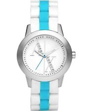 ARMANI EXCHANGE LADIES WHITE AND BLUE RUBBER BAND WATCH AX5072