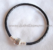 "BLACK LEATHER DOUBLE Genuine PANDORA Bracelet with SILVER Small 13.8""/35cm NEW"