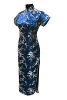 Vtg Women Navy Blue Long Chinese Evening Dress Gown Cheongsam Qipao Sz S-6XL