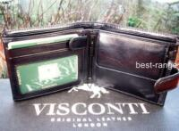 Mens Visconti Luxury Quality Black Leather Wallet Trifold New in Gift Box MZ5