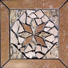 "11 13/16"" Stone Medallion - Tumbled Stone, Travertine & Santa Cecilia Granite"