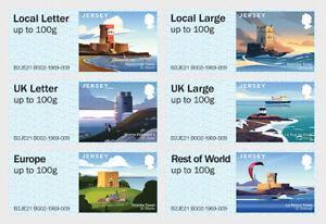 "JERSEY (GB)  -  Satz ATM Franking Labels ""Post & Go"":  Coastal Towers  2021**"
