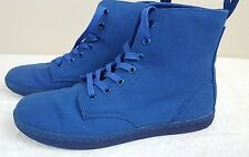 New Dr Martens Airwair Hackney Lace Up Blue Canvas Hi Top Sneakers 10M AW004