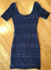 ABERCROMBIE & FITCH FITTED BODYCON DRESS SHORT SLEEVE Junior SIZE XS NAVY BLUE