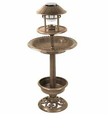 Bronze Effect Bird Hotel Feeder & Bath With Solar Light Garden Ornamental Table