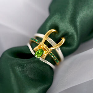 925 Silver Fashion Rings Women Emerald Wedding Engagement Ring Jewelry Gift 6