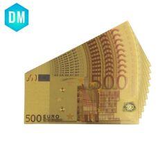 10pcs Festival Souvenir Gifts 500 Euro Colorful 24k Gold Plated Plastic Card