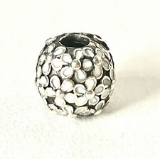 GENUINE PANDORA S925 ALE - Solid Sterling Silver White Enamel Flower Clip Charm