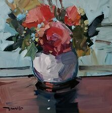 JOSE TRUJILLO Oil Painting IMPRESSIONISM ORIGINAL CONTEMPORARY ROSES STILL LIFE