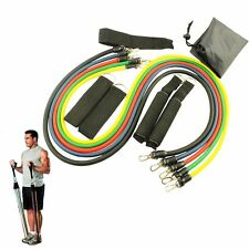 11 PCS Resistance Band Set Yoga Pilates Abs Workout Exercise Tube Fitness Bands