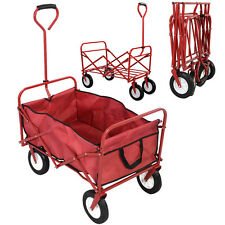 Collapsible Folding Wagon Cart Garden Buggy Shopping Beach Toy Sports Red New