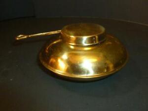 Vintage Brass Warmer Chafing Dish Steno Gel Fuel Holder