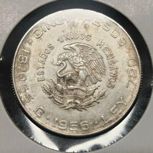 1956 Mexico Cinco 5 Pesos Hidalgo Silver Coin