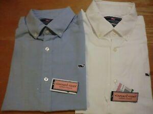 Vineyard Vines Oxford Whale Sport Shirt, NWT - Mens L -White + Blue -Classic Fit
