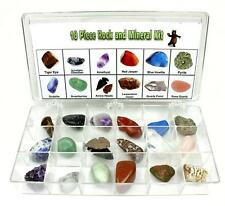 Rock & Mineral Geology Education Collection 18 Pcs of Gem Stones w Collector BOX