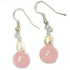 Rose Quartz Earrings Heart Chakra Hypoallergenic Surgical Steel Silver Plated
