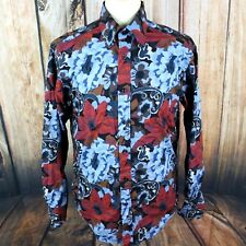 Mondo Di Marco Men's Shirt Large Floral Paisley Long Sleeve Button Down Colorful