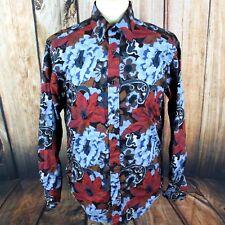 Mondo Di Marco Men's Shirt Large Floral Paisley Long Sleeve Button Down Colorful