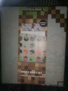 Minecraft Pixels Double Duvet Pillowcase  Cover 2 designs in 1 Kids  Bedtime