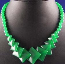 Exquisite Emerald Green Jade Rhombus Pieces Silver Clasp Necklace