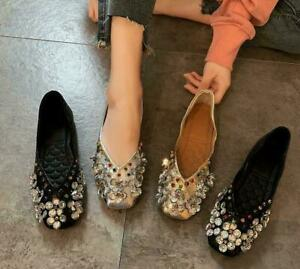 Womens Rhinestone Square Toe Slip On Casual Comfort Flats Heels Shoes Loafers