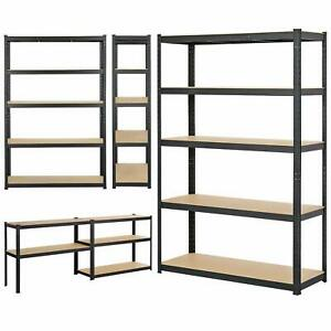 Black 5 tier heavy duty metal shelving racking boltless storage rack in 2 sizes