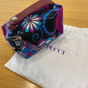 EMILIO PUCCI Purple Tones Geometric Print Cosmetic bag Excellent with strage bag
