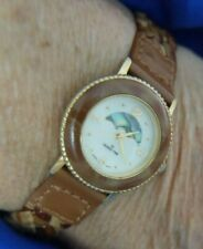 DESIGN TIME A2035 BRAIDED BROWN LEATHER BAND GOLD TONE WATCH NEW BATTERY A13